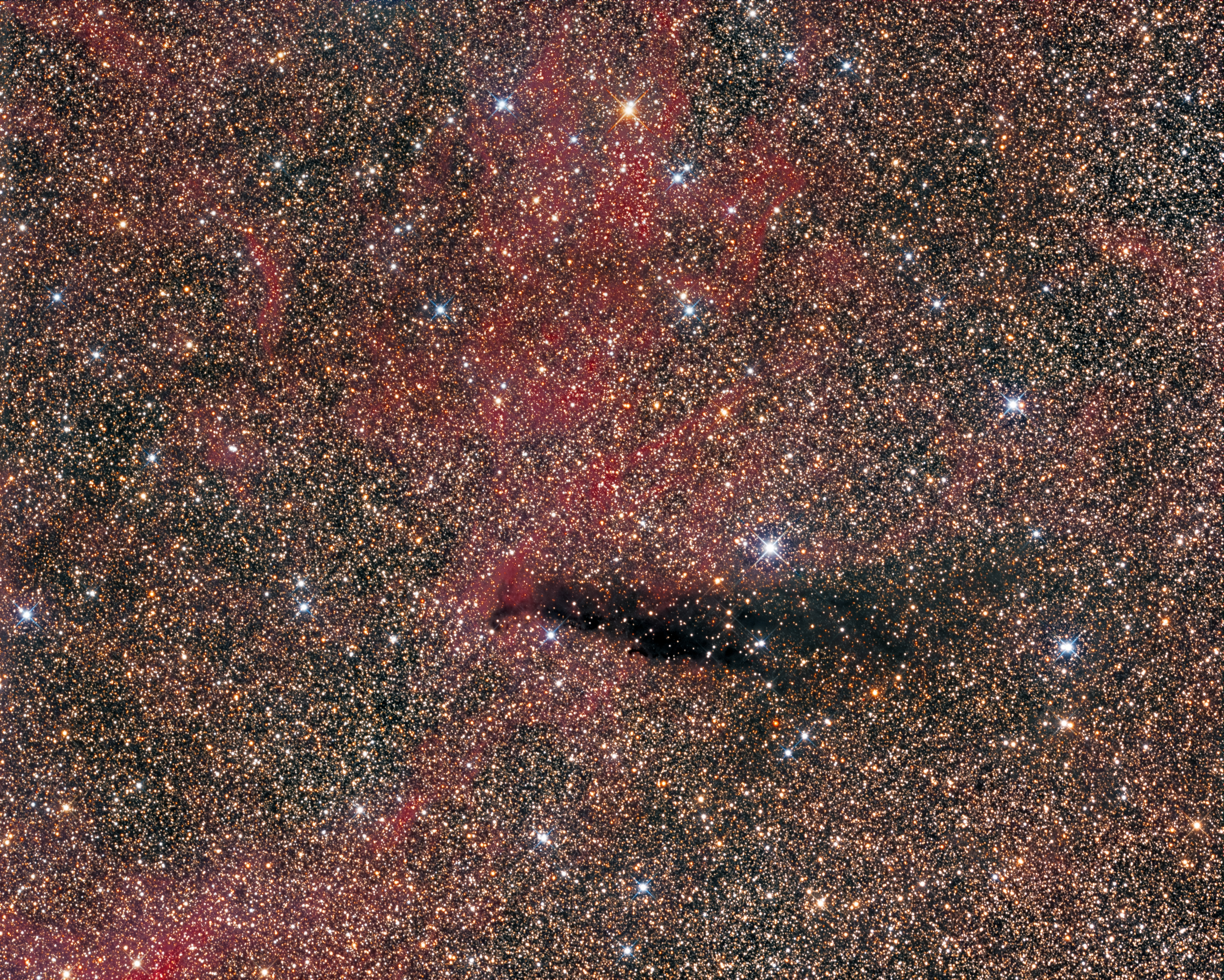 Barnard 145 (Cygnus) 2018.jpg - Barnard 145  (Cygnus )* ( June-July 2018 ) * ASA N12 astrograph (f/3.6, 1075mm) *ASA DDM85 mount * G3-16200 CCD EC Moravian * Baader LRGB filter set *  L: 480 minutes R:560 min G:440 min B: 480 min * Subframes acquired unguided (Sequence&Autoslew software):I revisited Barnard 145  almost 8 years laetr from my first image in 2009. Always interested in  Barnard targets and dark nebula.Lying amongst the spiral arms of the Galaxy are numerous clouds of dust and gas.These clouds, commonly known as dark nebulae, absorb light from the stars behindand appear to observers on Earth as blank regions amongst the bright Milky Way.Barnard 145 (LDN 865) is a dark nebula in the constellation Cygnus. The red emission nebula all around  is LBN190, as a  part of Sh2-109.The dark  nebulae are classified,according to their opacity on a scale from1 (only slightly darker than the background Milky Way).Barnard 145 has a quoted size of 35'×6' and opacity of 4.