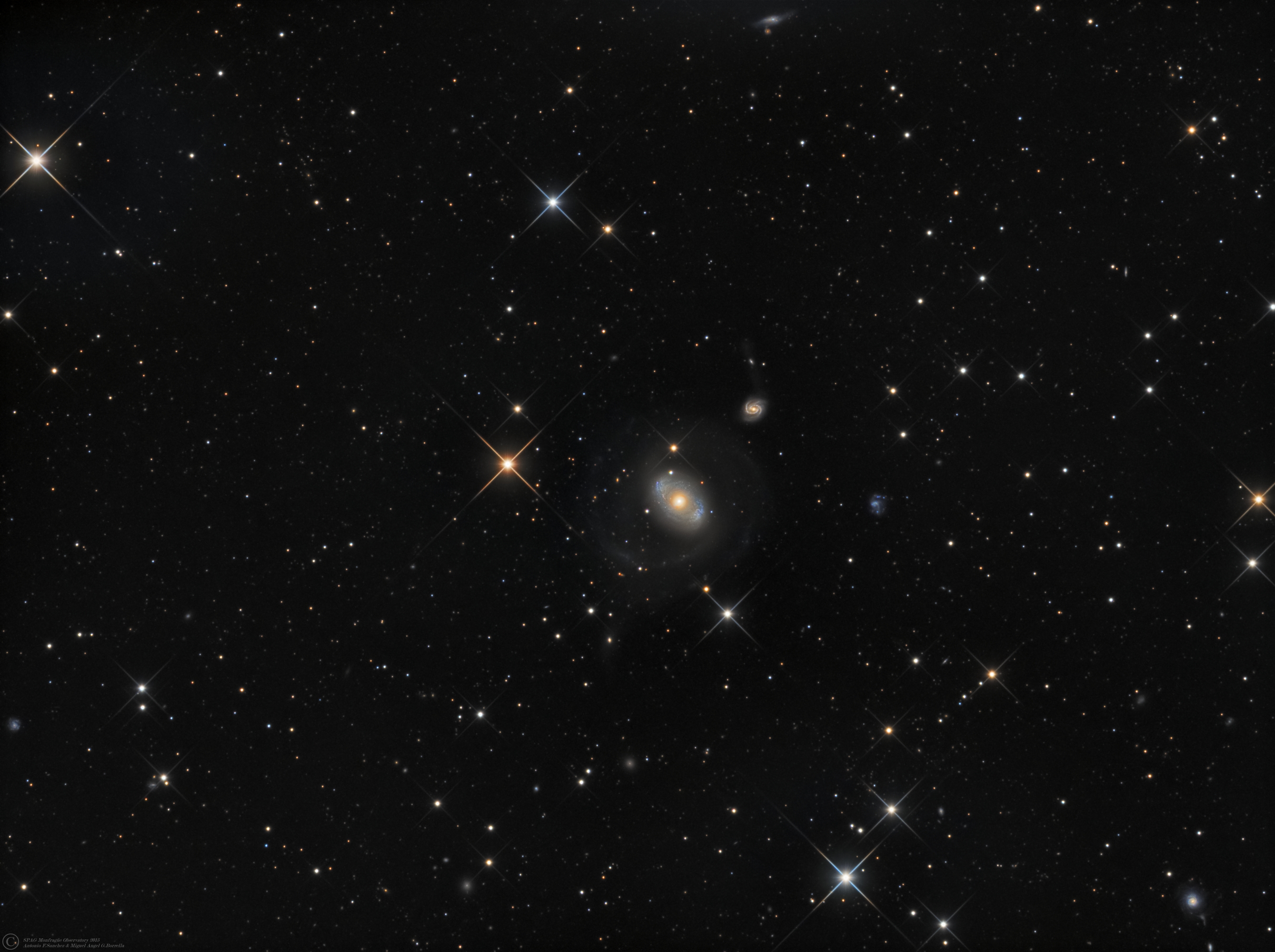"NGC 4151 (Eye of Sauron),NGC 4156 (Canes Venatici).jpg - NGC 4151 (Eye of Sauron),NGC 4156 (Canes Venatici) * March-April 2015 * ASA N12 astrograph (f/3,6, 1078mm) * ASA DDM85 mount * FLI ML8300 at -25ºC * LRGB Optec filter set * L:582m  R: 180m G:170m B:190m * UNGUIDED * NGC 4151 is an intermediate spiral Seyfert galaxy located 43 million light-years from Earth, in the constellation Canes Venatici. The galaxy was first mentioned by William Herschel on March 17, 1787; it was one of the two Seyfert galaxies described in the paper which defined the term. It is one of the nearest galaxies to Earth to contain an actively growing supermassive black hole; it was speculated that the nucleus may host a binary black hole, with about 40 million and about 10 million solar masses respectively, orbiting with a 15.8-year period. This is, however, still a matter of active debate.Some astronomers nickname it the ""Eye of Sauron"" from its appearance.X-ray sourceAstronomers using data from the European Space Agency's XMM-Newton satellite have found a long-sought X-ray signal from NGC 4151. When the black hole's X-ray source flares, its accretion disk reflects the emission about half an hour later.A litte tidal tail can be seen at the bottom of the galaxy...and also in the spiral galaxy NGC 4156..(Credits: NASA&Wikipedia)"